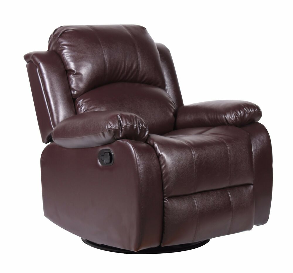 Bonded leather rocker and swivel recliner living room for Ebay living room chairs