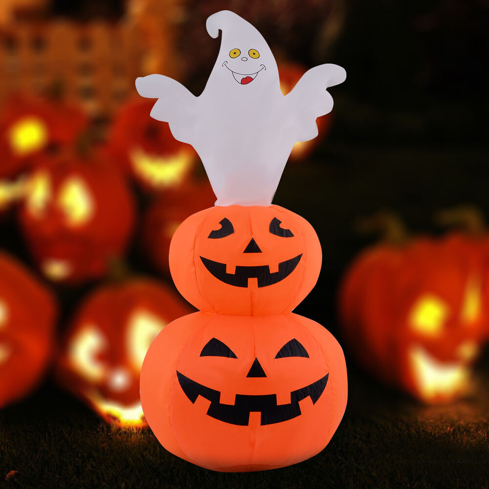 Ft halloween inflatable ghost stacked pumpkins lighted