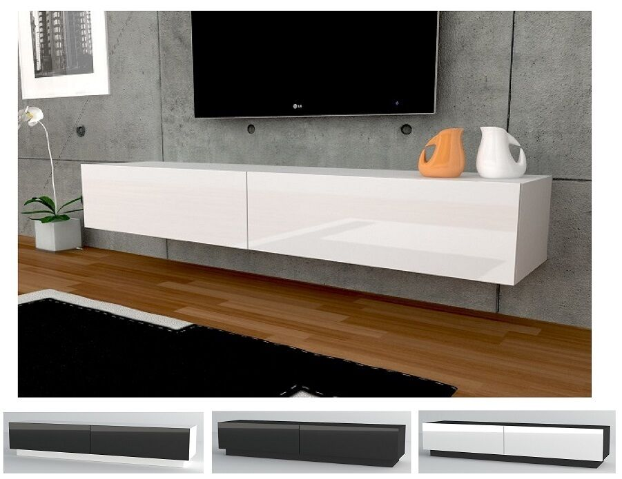 tv lowboard h ngeboard tisch board schrank mit hochglanz 180 cm l nge wei ebay. Black Bedroom Furniture Sets. Home Design Ideas