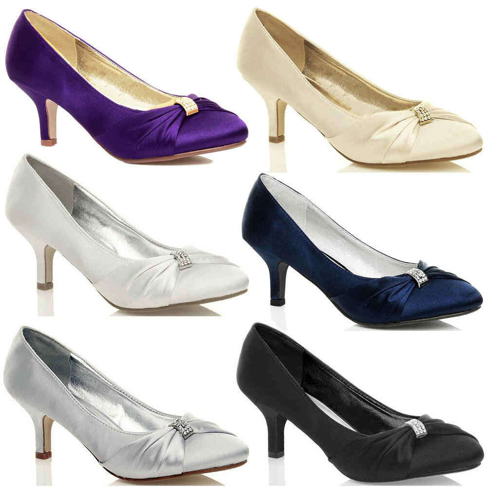 LADIES SATIN LOW MID HEELS WOMENS WEDDING BRIDAL