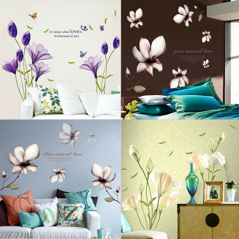 Removable flower home living room mural decor art vinyl for Diy wall photo mural