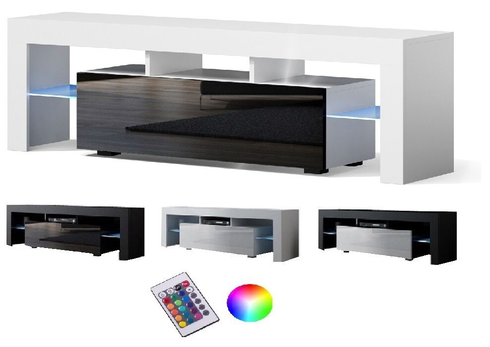 tv lowboard schrank tisch board hochglanz 130 160cm mit rbg led beleuchtung ebay. Black Bedroom Furniture Sets. Home Design Ideas