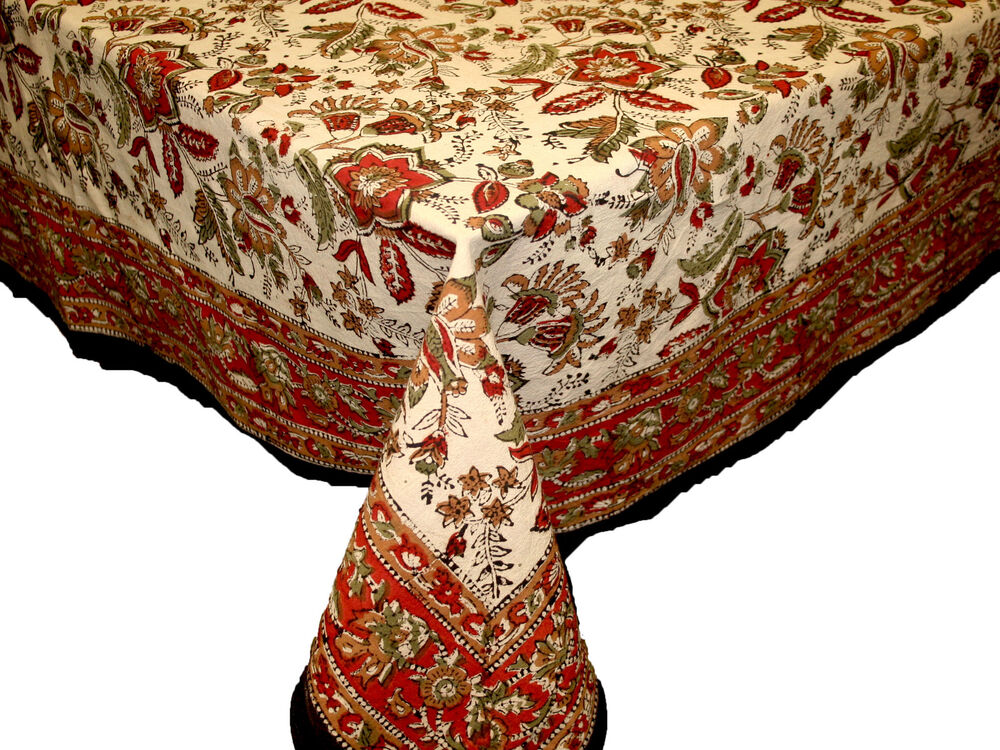Handmade Jaipur Floral Print 100 Cotton Tablecloth