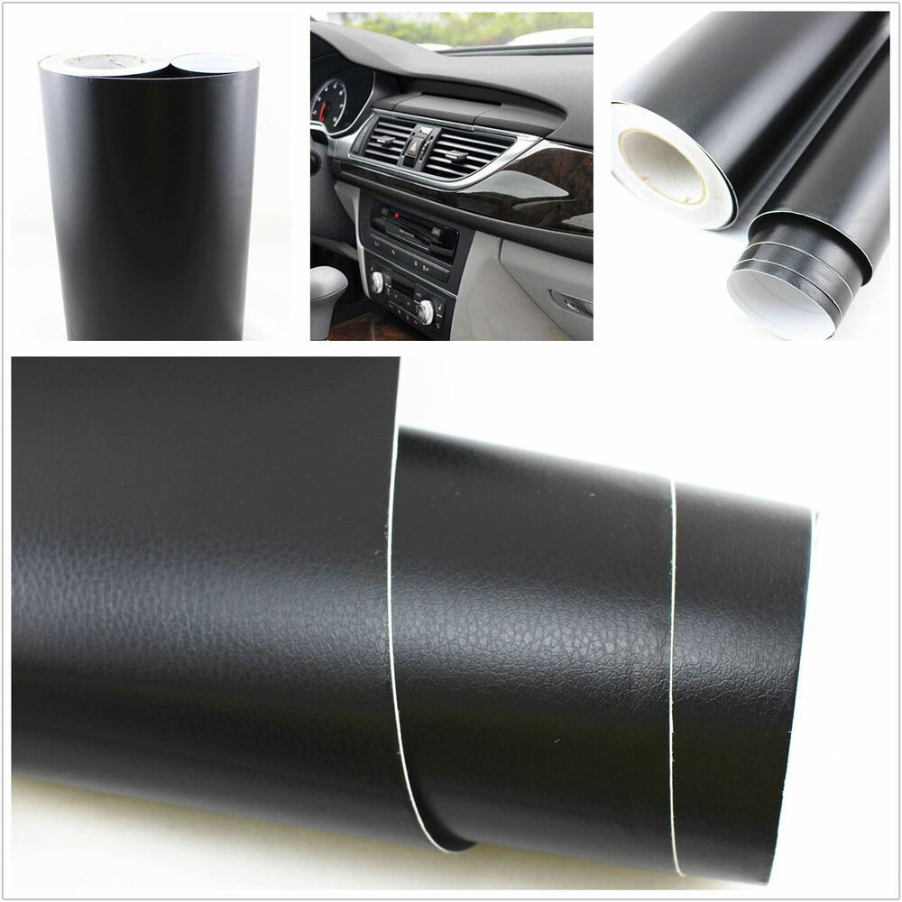 3d black leather texture sheet car auto interior trim vinyl film wrap sticker ebay for Vinyl wrapping interior trim