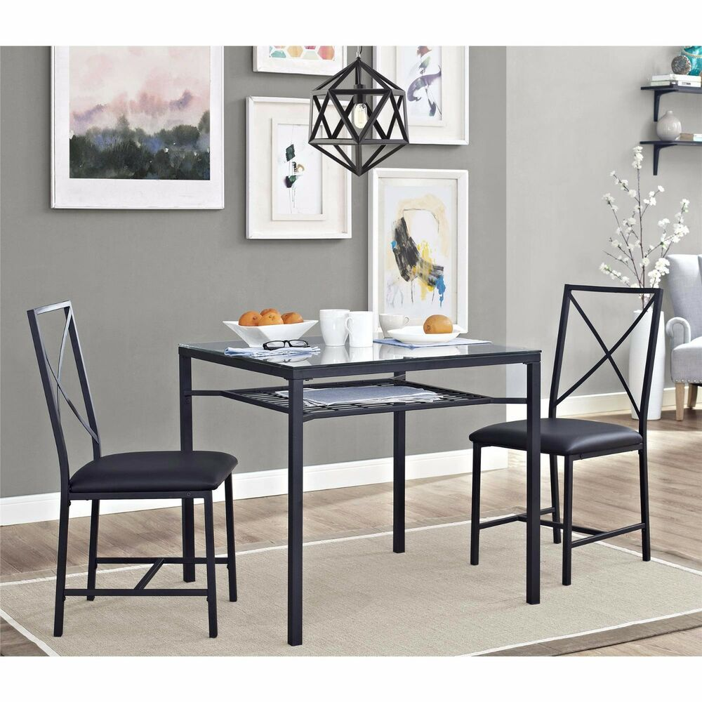 Black And Cherry Round Table And Two Dinette Chair 3 Piece: Dining Table Set For 2 Chairs 3 Piece Kitchen Room