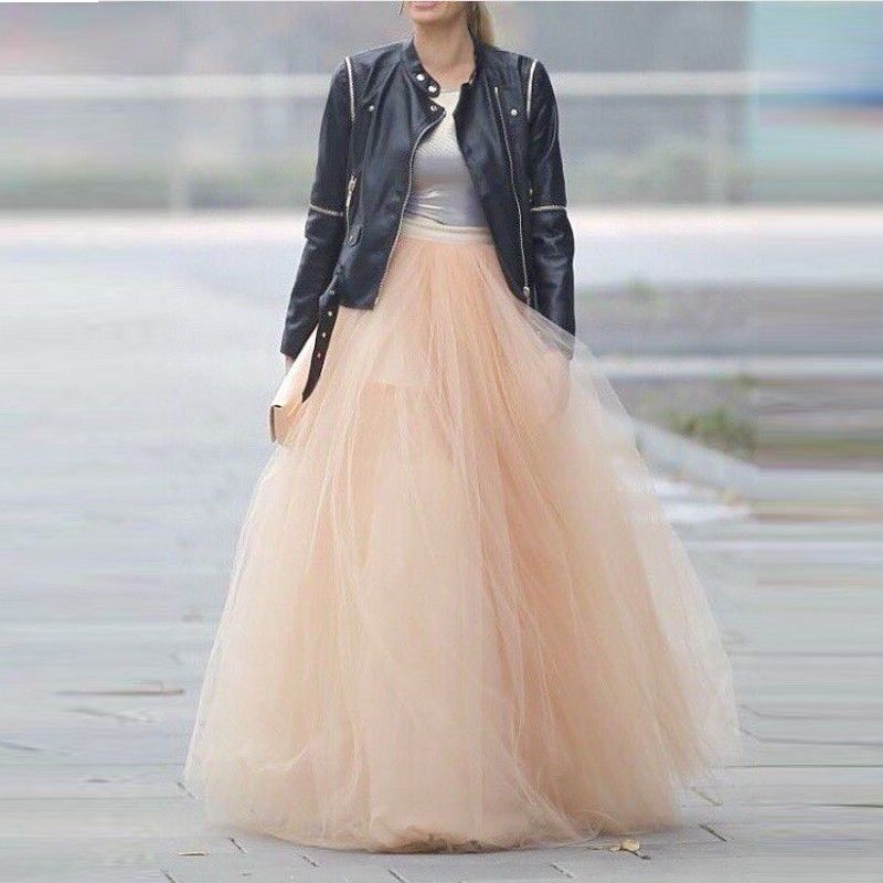 6 Layers 100cm Maxi Women Tulle Skirts Long Celebrity