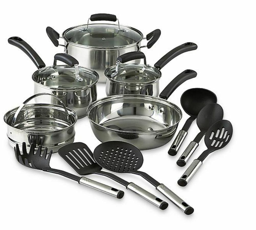 14 Piece Pots And Pans Stainless Steel Cooking Kitchen Cookware Set Utensils Ebay