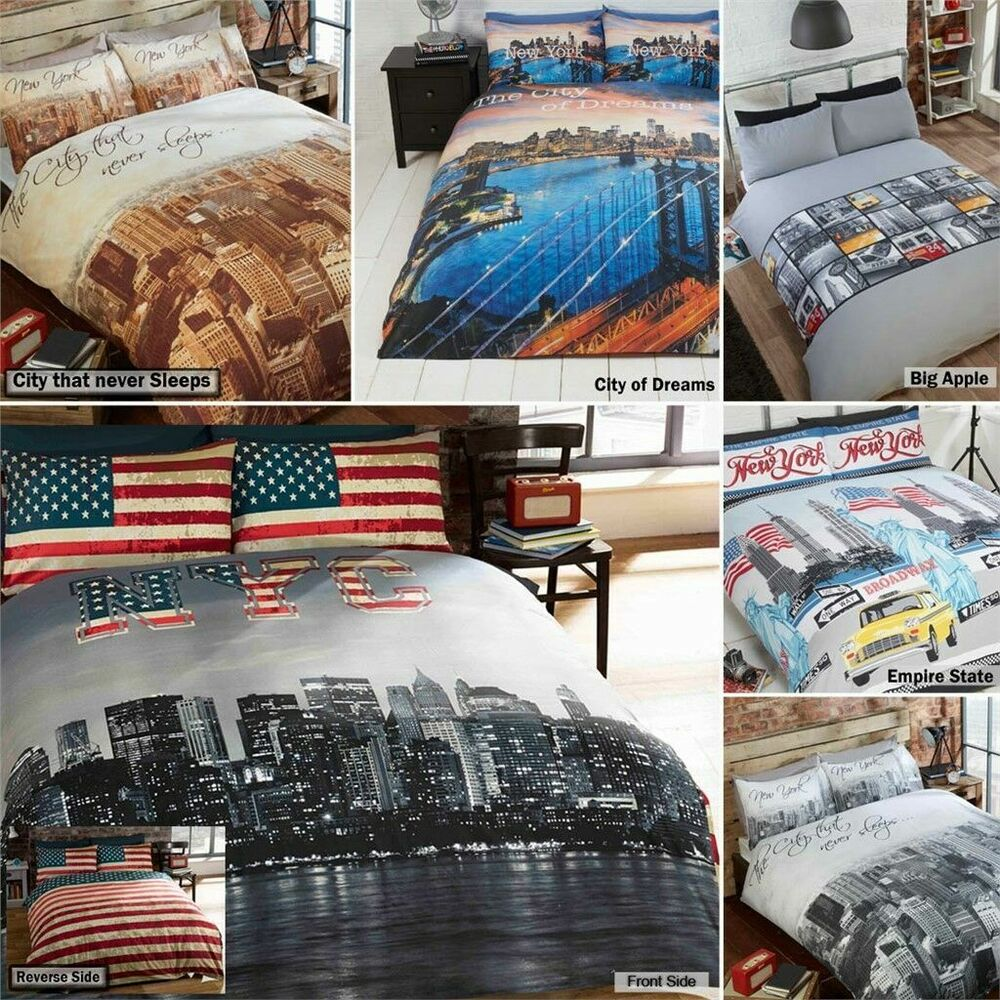 New York City Skyline American Themed Reversible Bedding