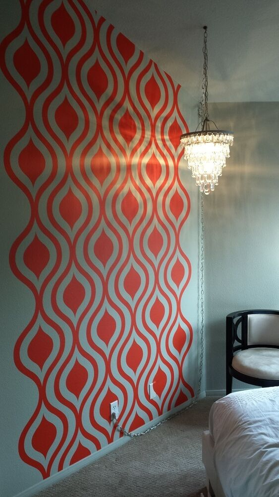 mid century modern wall decor ogee wall decal geometric. Black Bedroom Furniture Sets. Home Design Ideas