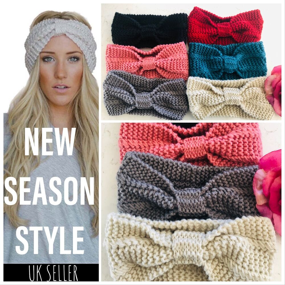Uk Womens Winter Knitted Ear Warmer Knot Headband Crochet Bow Wool