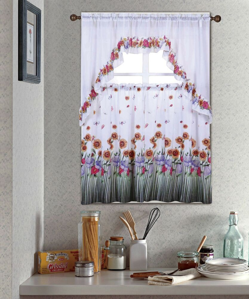 Kitchen Curtains And Valances: BLOSSOM, COMPLETE TIER & SWAG SET, KITCHEN CURTAIN SET