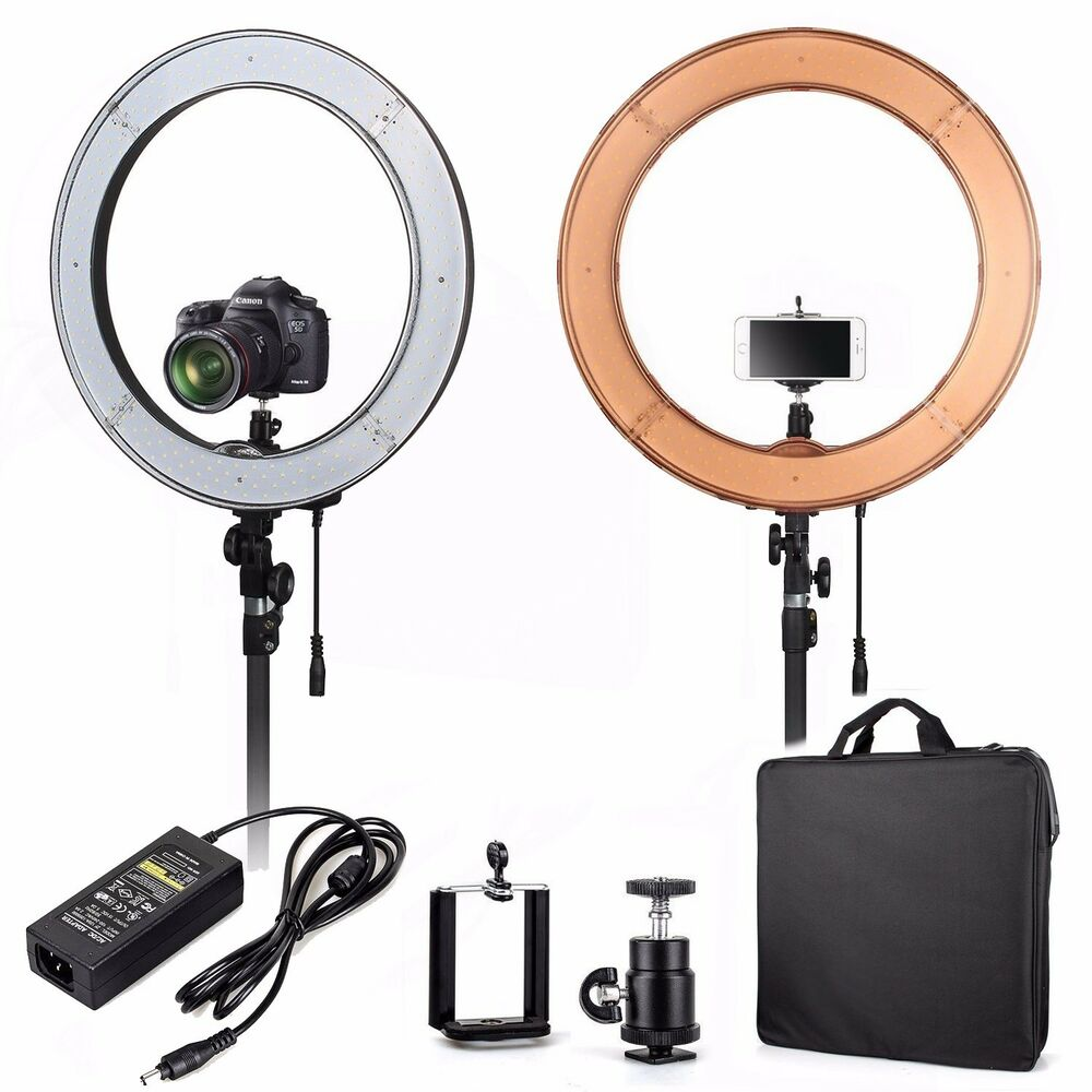 """Makeup Ring And Lights: ES240 18"""" 5500K Dimmable LED Adjustable Ring Light With"""