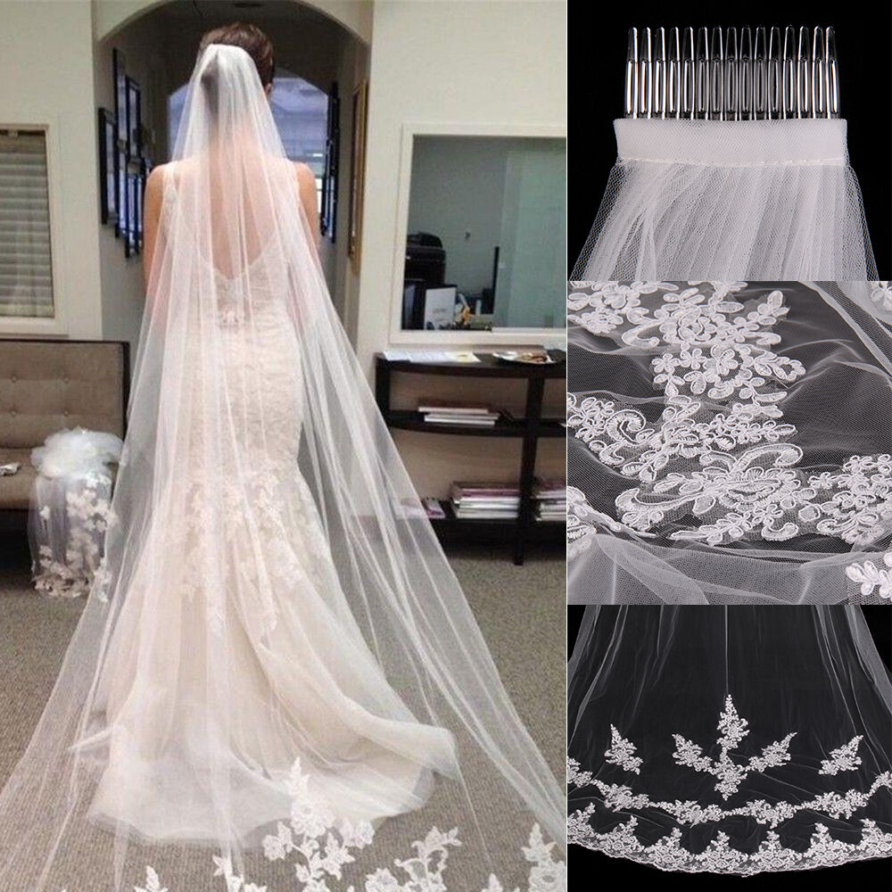 new white ivory 1t cathedral applique edge lace bridal wedding veil with comb 3m ebay. Black Bedroom Furniture Sets. Home Design Ideas