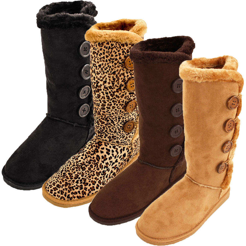 New WOMENS BEIGE FUR TRIM FLAT BUTTONED CALF WINTER SNOW WARM MOON BOOTS