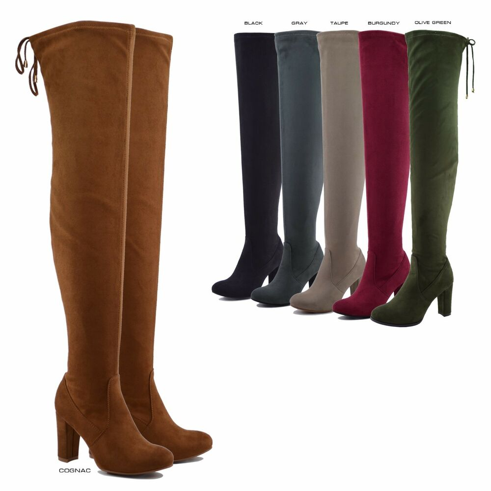 6b32a5e566 Details about NEW Women Stretchy Over The Knee Thigh High Drawstring Chunky Heel  Boot 5.5 - 10