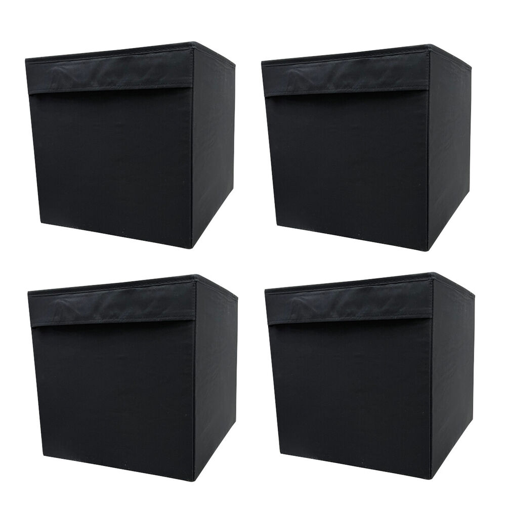 ikea dr na 4 set fach box expedit kallax regal kiste aufbewahrungsbox schwarz 4x ebay. Black Bedroom Furniture Sets. Home Design Ideas