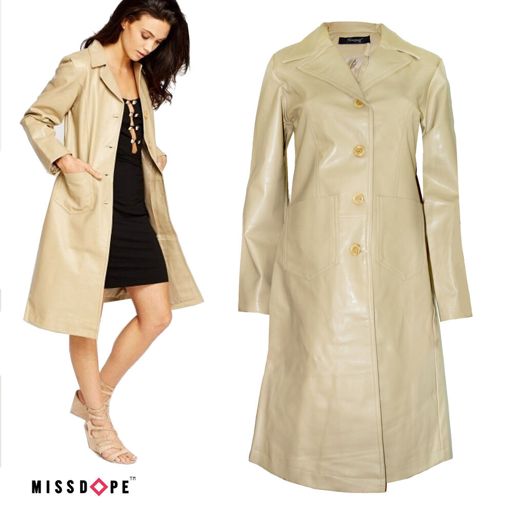 New Beige Leather Faux Trench Coat Womens Light Brown Mac