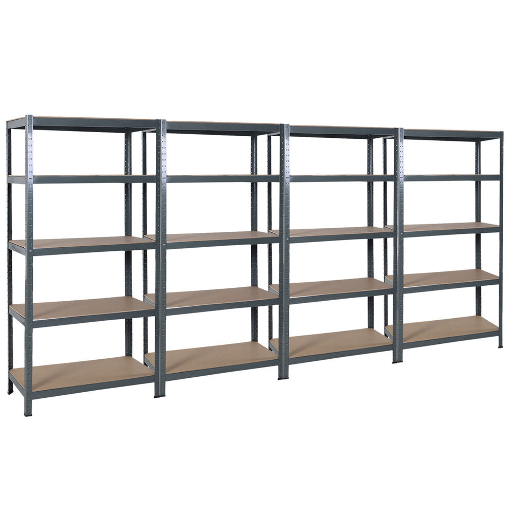 4pcs 72 heavy duty steel 5 level garage shelf metal. Black Bedroom Furniture Sets. Home Design Ideas