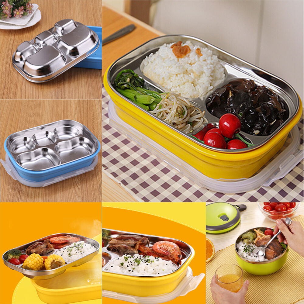5 grid stainless steel thermal insulated lunch box bento. Black Bedroom Furniture Sets. Home Design Ideas
