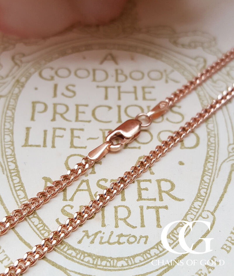 9ct Rose Gold 2mm Curb Chain Necklace 18″ 20″ 22″ MEN'S ...