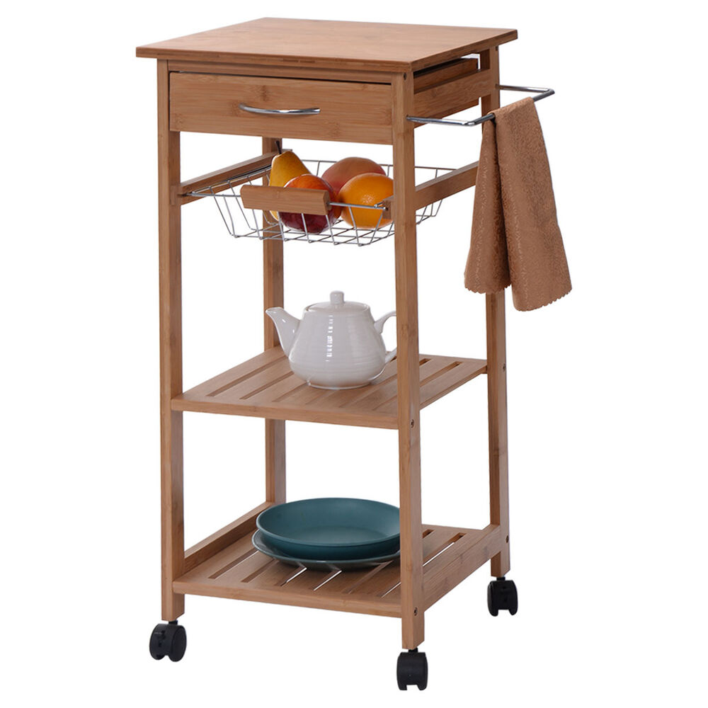 Rolling Bamboo Kitchen Trolley Cart Storage Shelf Island W