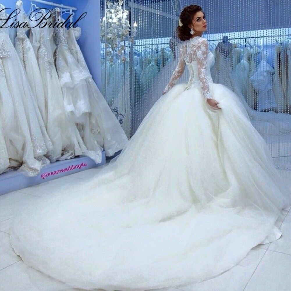 Cinderella Wedding: Fall Winter Muslim Long Sleeve Cinderella Wedding Dress