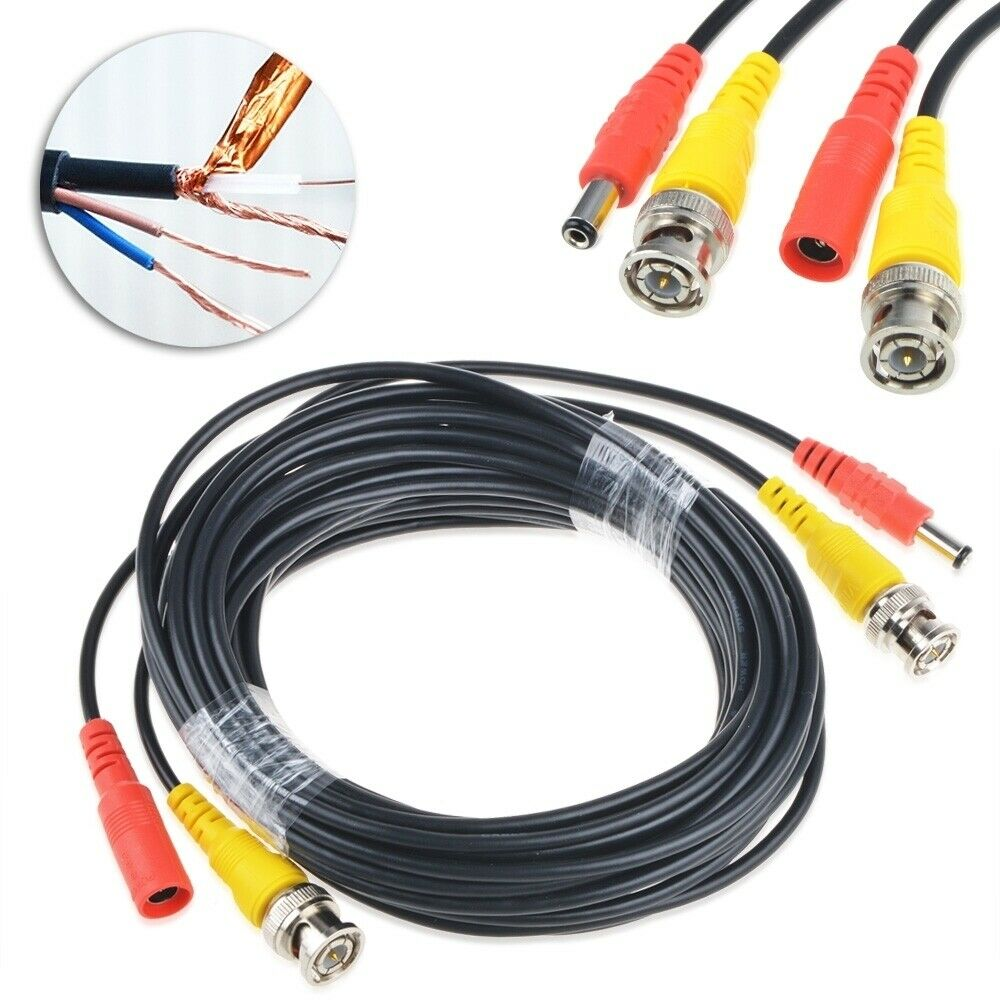 Security Camera Cables And Connectors : Ft bnc video power cable for cctv security camera