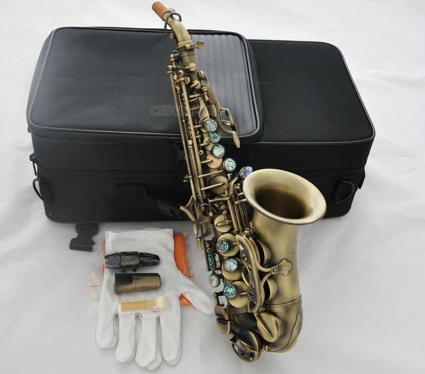 antique brass curved soprano saxophone bb sax high f ablone shell key with case ebay. Black Bedroom Furniture Sets. Home Design Ideas