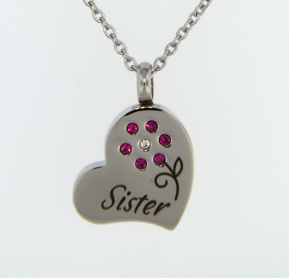 Sister with pink flower cremation jewelry pendant keepsake for Father daughter cremation jewelry