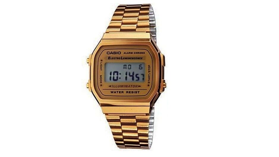 Casio digital electro luminescence champagne face gold tone watch a168wg 9wdf ebay for Luminescence watches