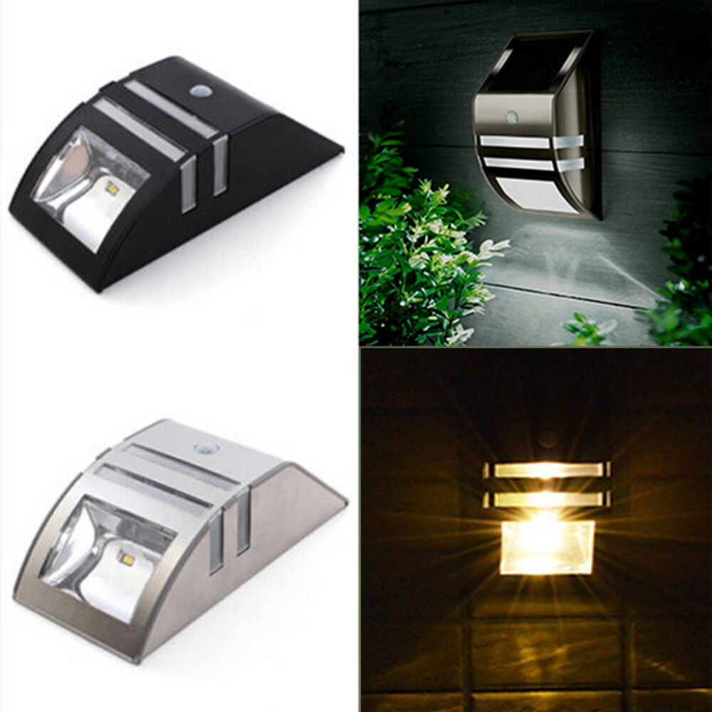 4x led solarleuchte mit bewegungsmelder solarlampe wandlampe pir sensorlampe ebay. Black Bedroom Furniture Sets. Home Design Ideas