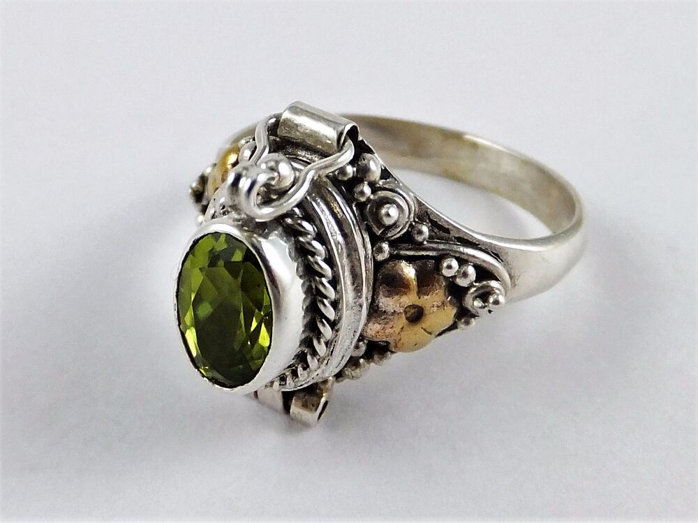 Sterling Silver Poison Ring Peridot Sizes 4 5 9 1 Carat