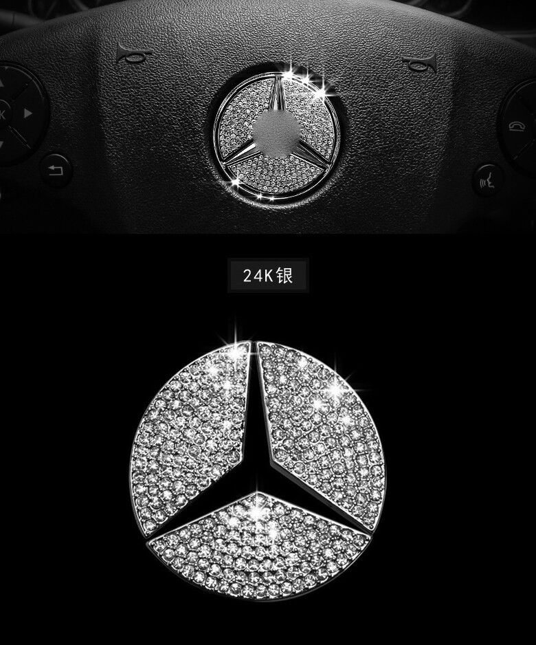 Auto accessories car steering wheel logo diamond for Mercedes benz acc