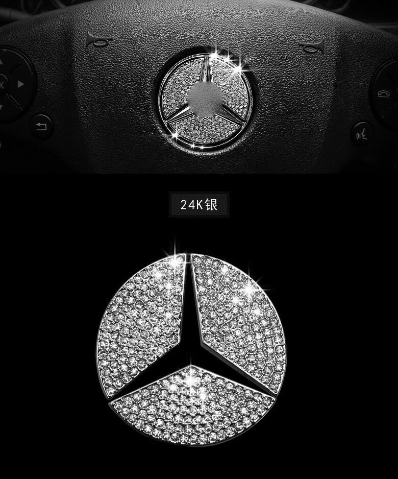Auto accessories car steering wheel logo diamond for Mercedes benz parts and accessories online