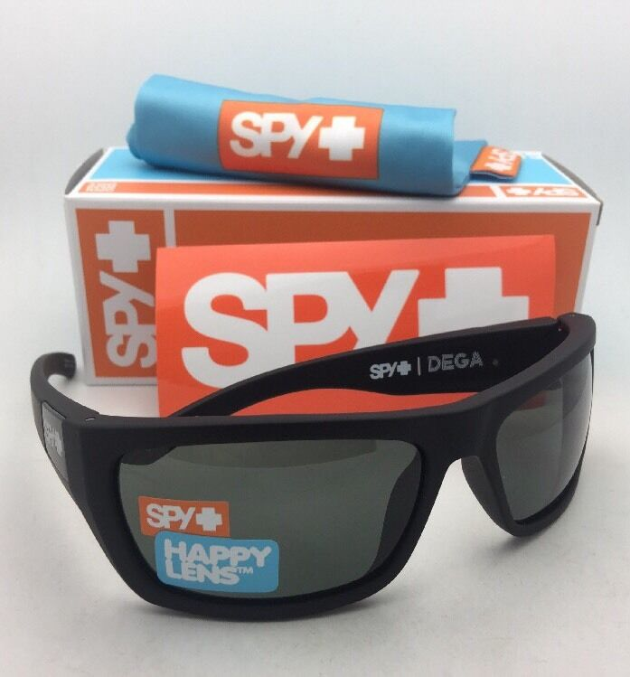 d707f67af93 Details about New SPY OPTIC Sunglasses DEGA Soft Matte Black Frame w  Happy  Grey Green Lenses