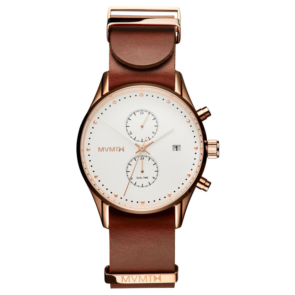 MVMT Watches VOYAGER SERIES Rosewood LEATHER Men's Watch ...