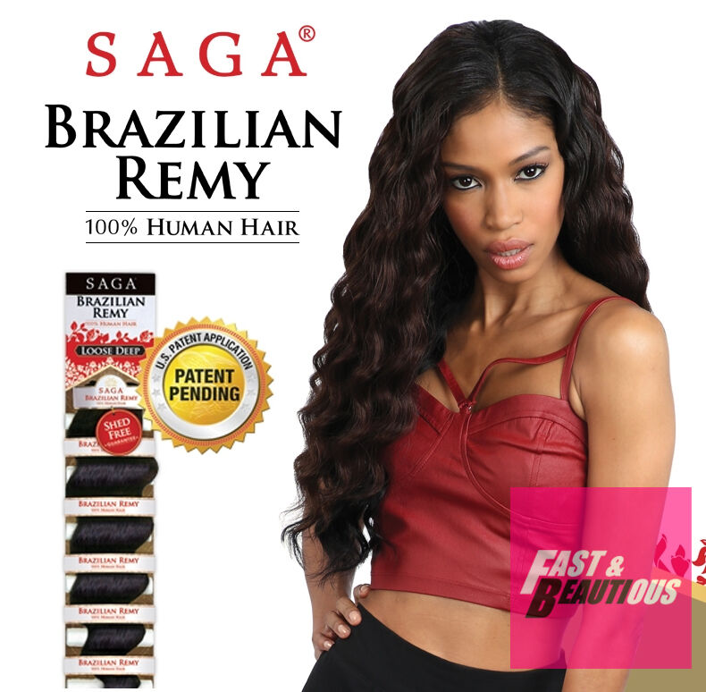 Saga Brazilian Remy Loose Deep Wave 100 Human Hair Weaving