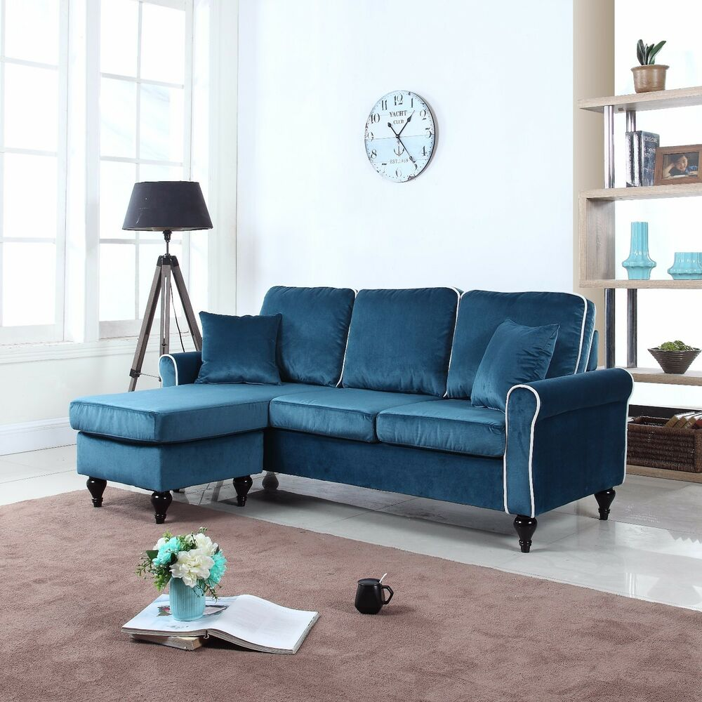 Traditional Small Space Blue Velvet Sectional Sofa With