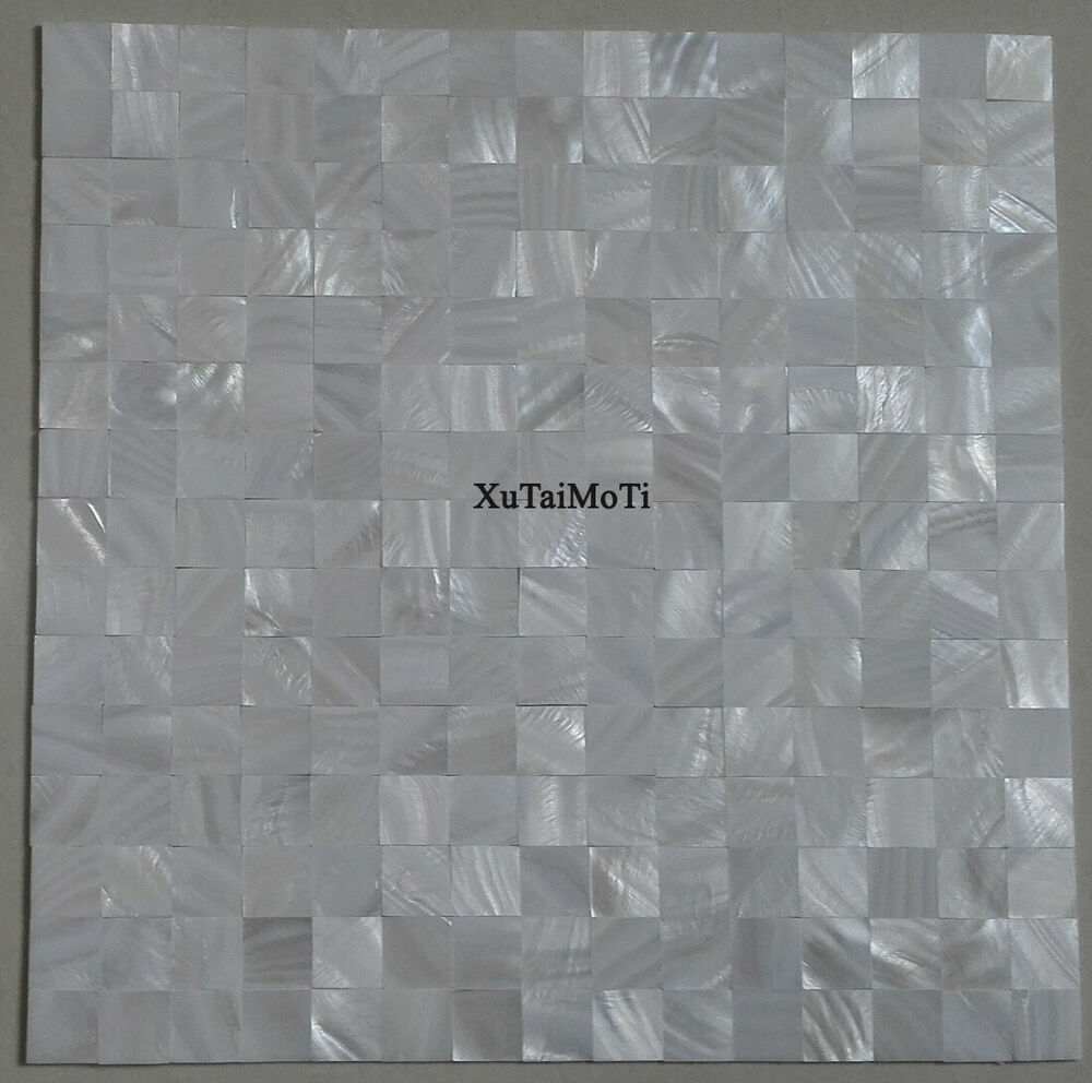 Groutless Accent Tile Wall: 11PCS Groutless Pure White Shell Mosaic Kitchen Backsplash