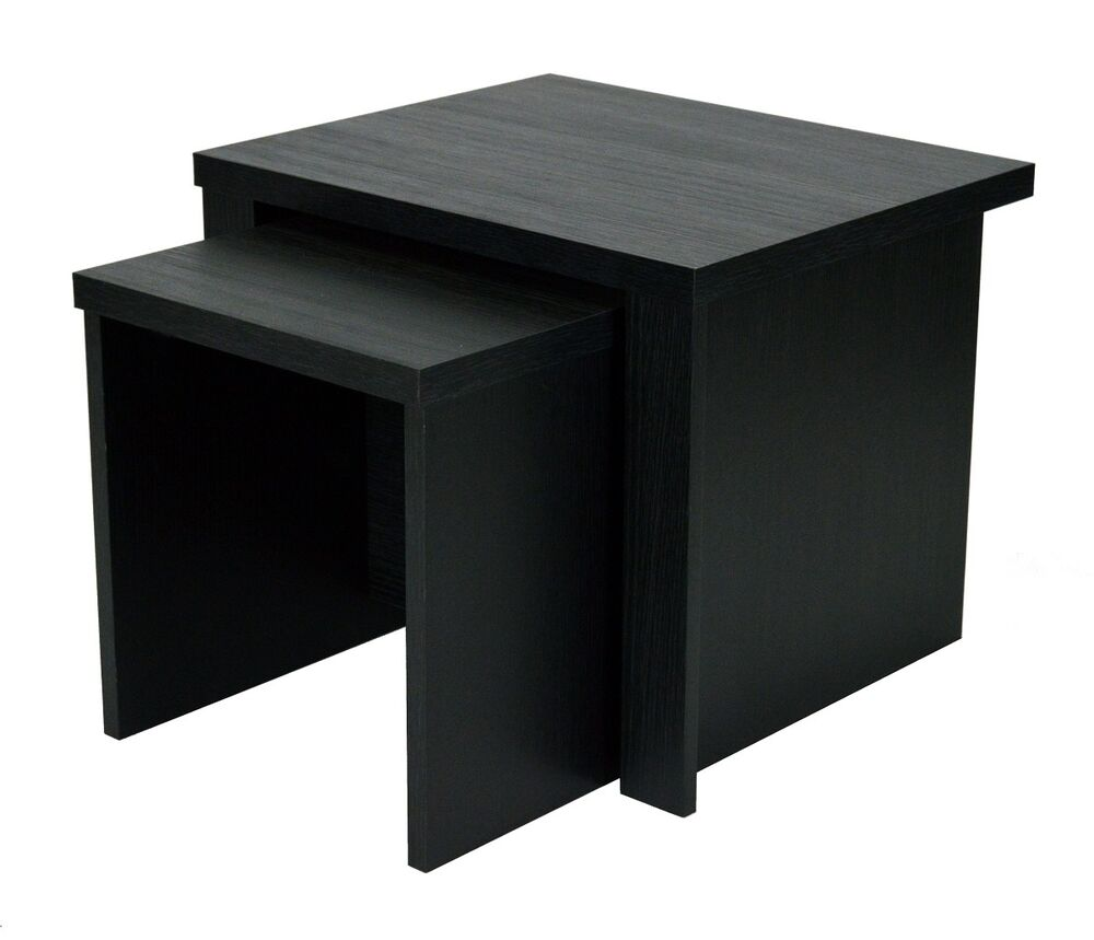 Black Coffee Table Nest: Black Oak Nest Of Tables Coffee Side End Lamp Table Set Of