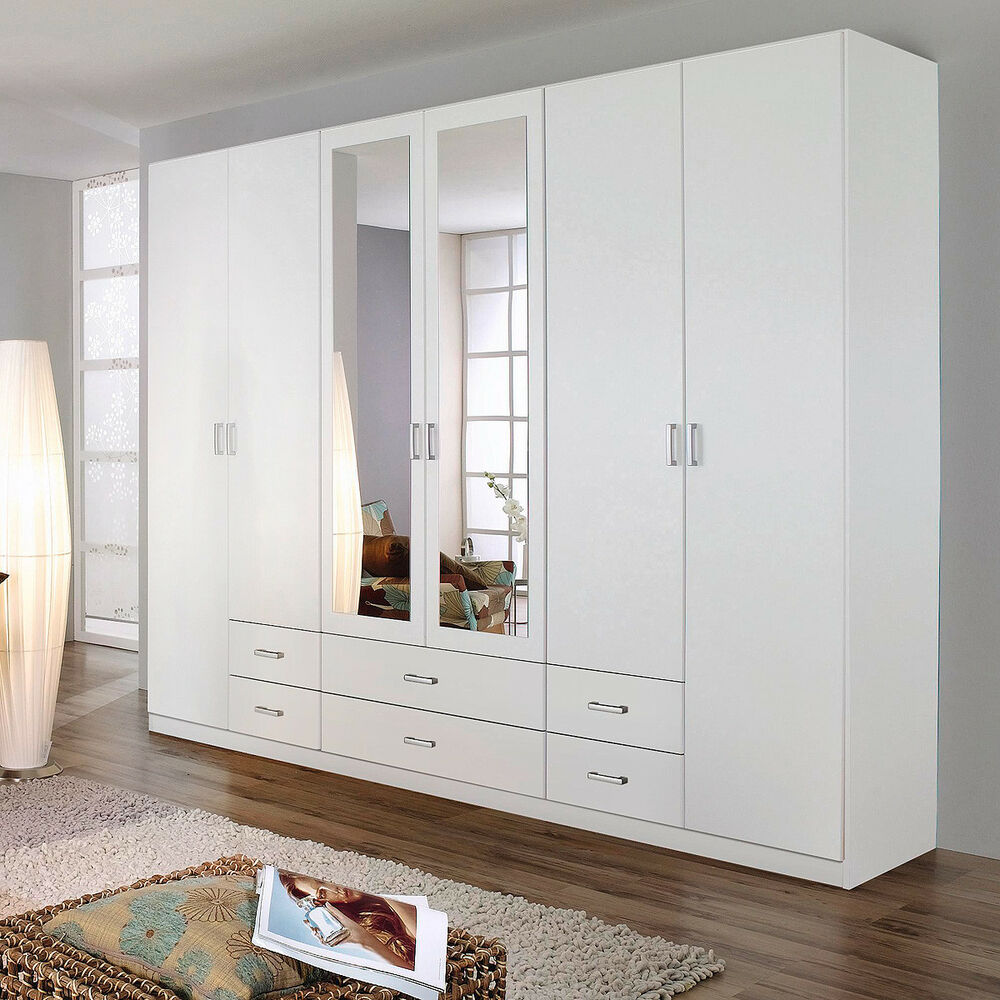 kleiderschrank schlafzimmer gammas 6 t rig wei mit schubk sten spiegel 4038283990950 ebay. Black Bedroom Furniture Sets. Home Design Ideas