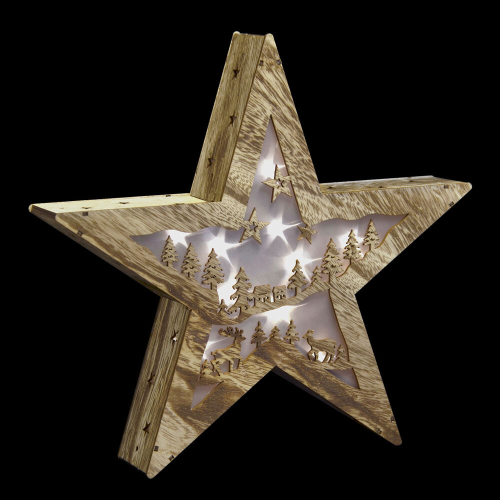 Neutral star standing led lights christmas cut out wood for Room ornaments