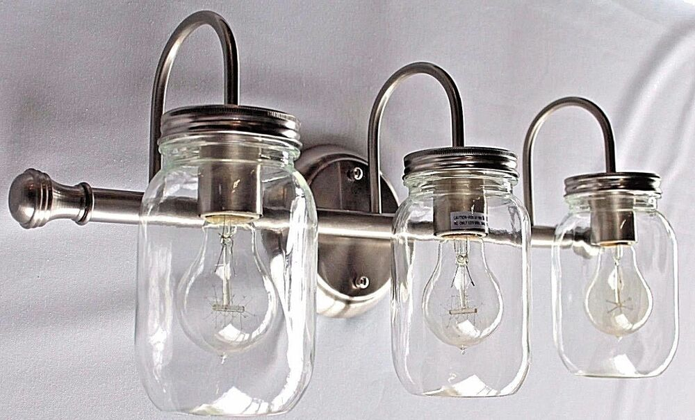 mason jar bathroom light fixture 3 light clear jar lighting brushed nickel vanity 23747