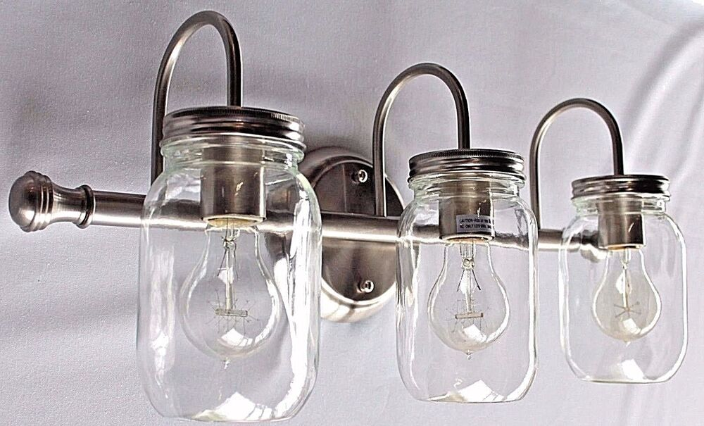 Mason jar bathroom light