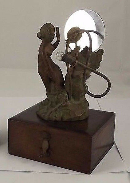 Lovely Art Nouveau Mirror Lamp Statue Spelter French