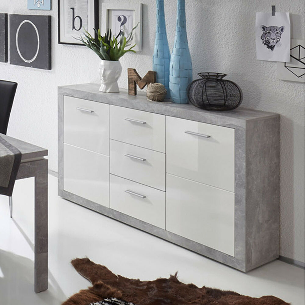 sideboard stone anrichte kommode schrank in betonoptik und. Black Bedroom Furniture Sets. Home Design Ideas