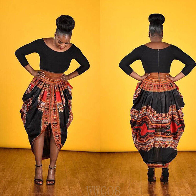 African Print Fashion: Fashion Women's Retro African Print Bubble Skirt Casual