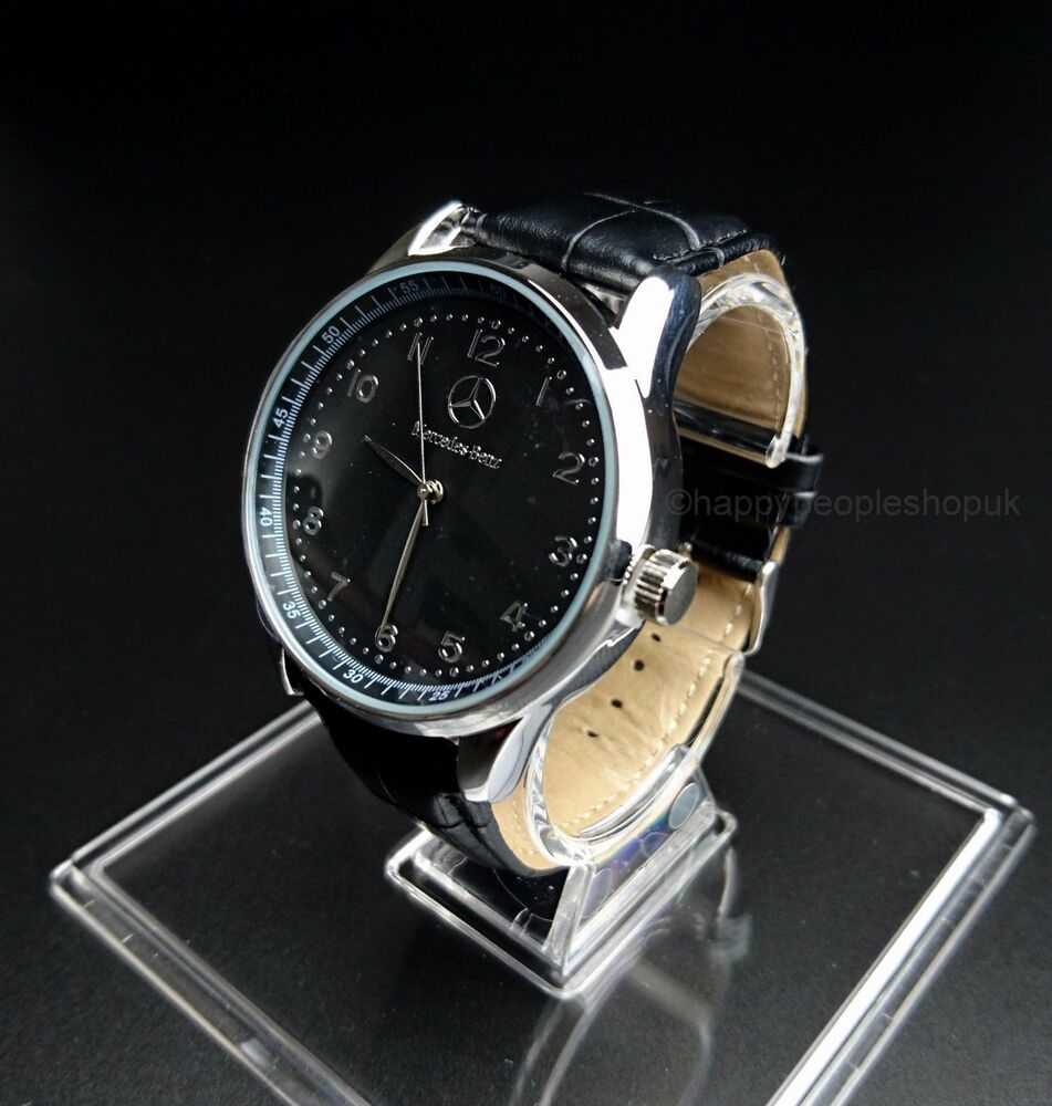 Mercedes Benz Mens Watch Stainless Steel Black Leather