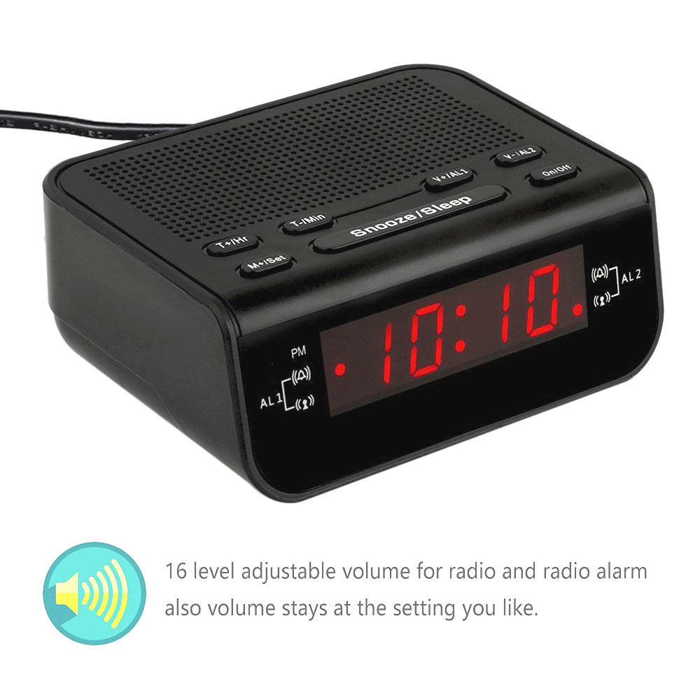digital fm radio alarm clock with dual alarm snooze sleep timer battery backup ebay. Black Bedroom Furniture Sets. Home Design Ideas
