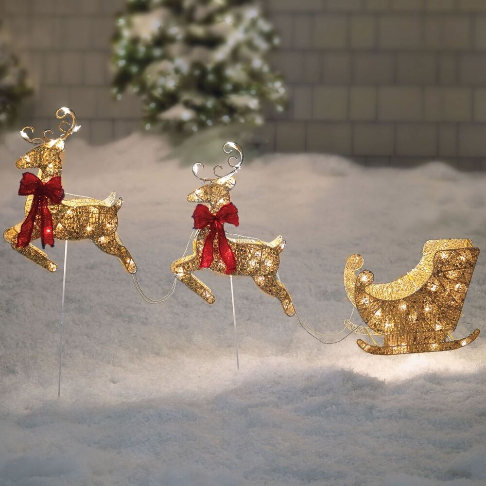 Santa sleigh and reindeer gold pre lit holiday christmas for Outdoor christmas